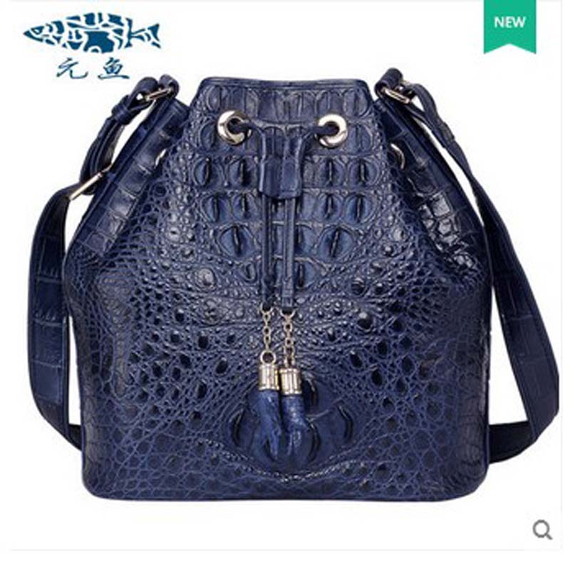 yuanyu 2018 new hot free shipping crocodile  female bag shoulder bag leather bucket bag high-end import inclined shoulder bag yuanyu 2018 new hot free shipping crocodile women handbag wrist bag big vintga high end single shoulder bags luxury women bag