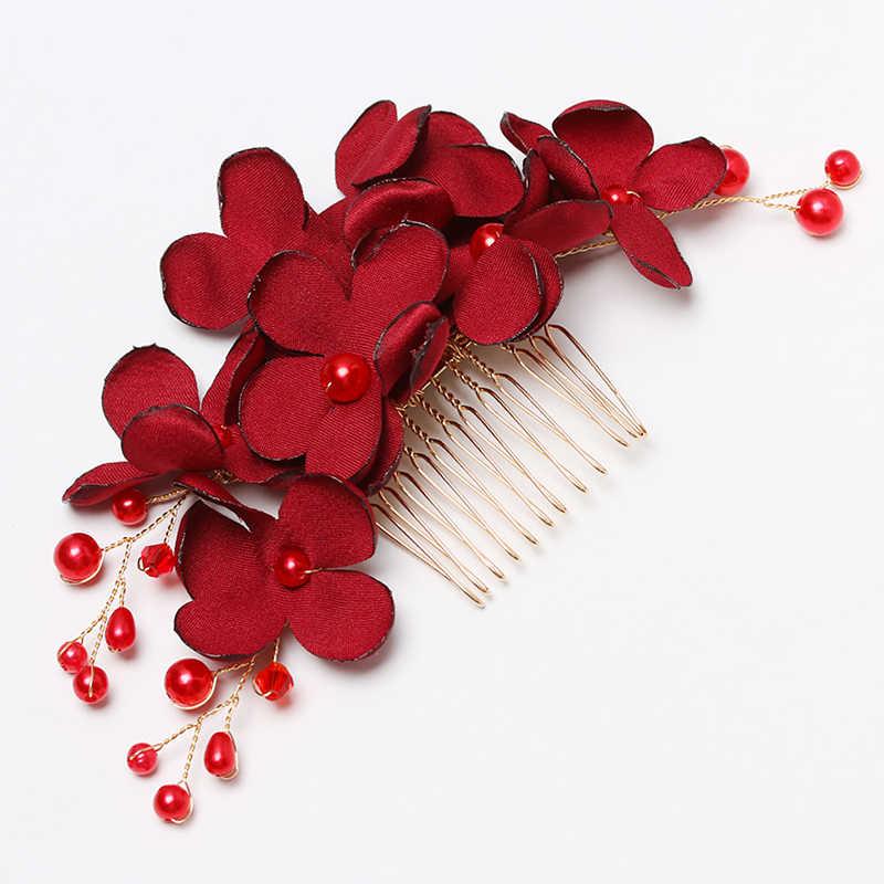 1Pcs Luxus Rot Rosa Blume Haar Kämme Kopfschmuck Prom Braut Hochzeit Haar Zubehör Elegante Perle Haar Schmuck Haar Pins geschenke