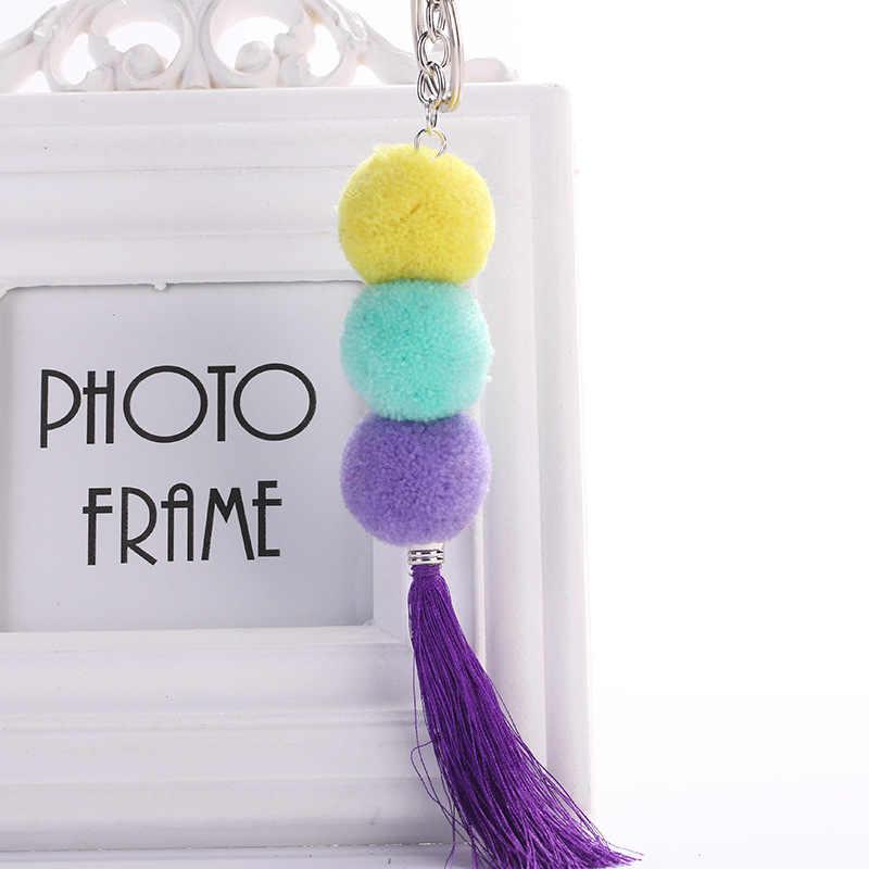 Novo Design Bolas de Pompom Longo Charme Com Colorido Bohemian Estilo Tassel Cadeia Chaveiro Pingente Chaveiro Decoração Moda Jóias