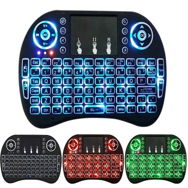 7 color backlit i8 Mini Wireless Keyboard 2.4ghz English Russian 3 colour Air Mouse with Touchpad Remote Control Android TV Box-in Keyboards from Computer & Office