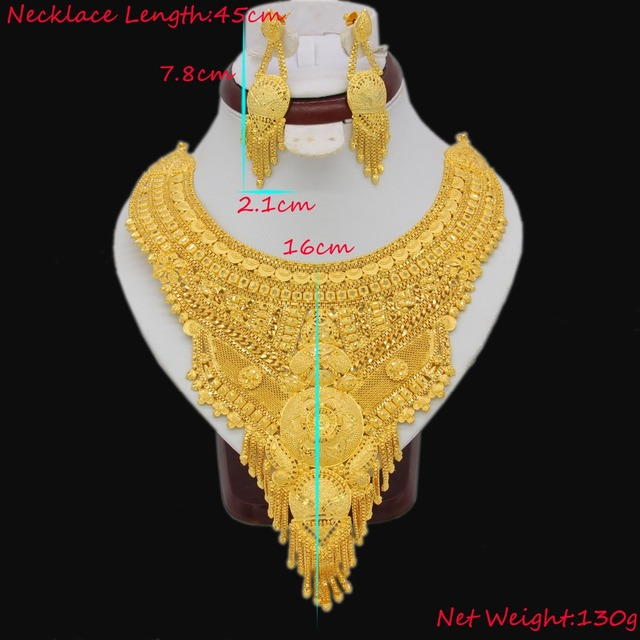 NEW Gold Color Arab/Ethiopian Jewelry Big Size Necklace/Earrings Jewelry Sets For Women Girls Wedding Gifts