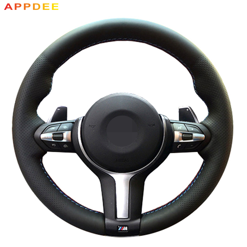 APPDEE Genuine Leather Hand-stitched Car Steering Wheel Cover for BMW M3 M4 2014-2016 F33 428i 2015 F30 320d 328i 330i 2016 стоимость