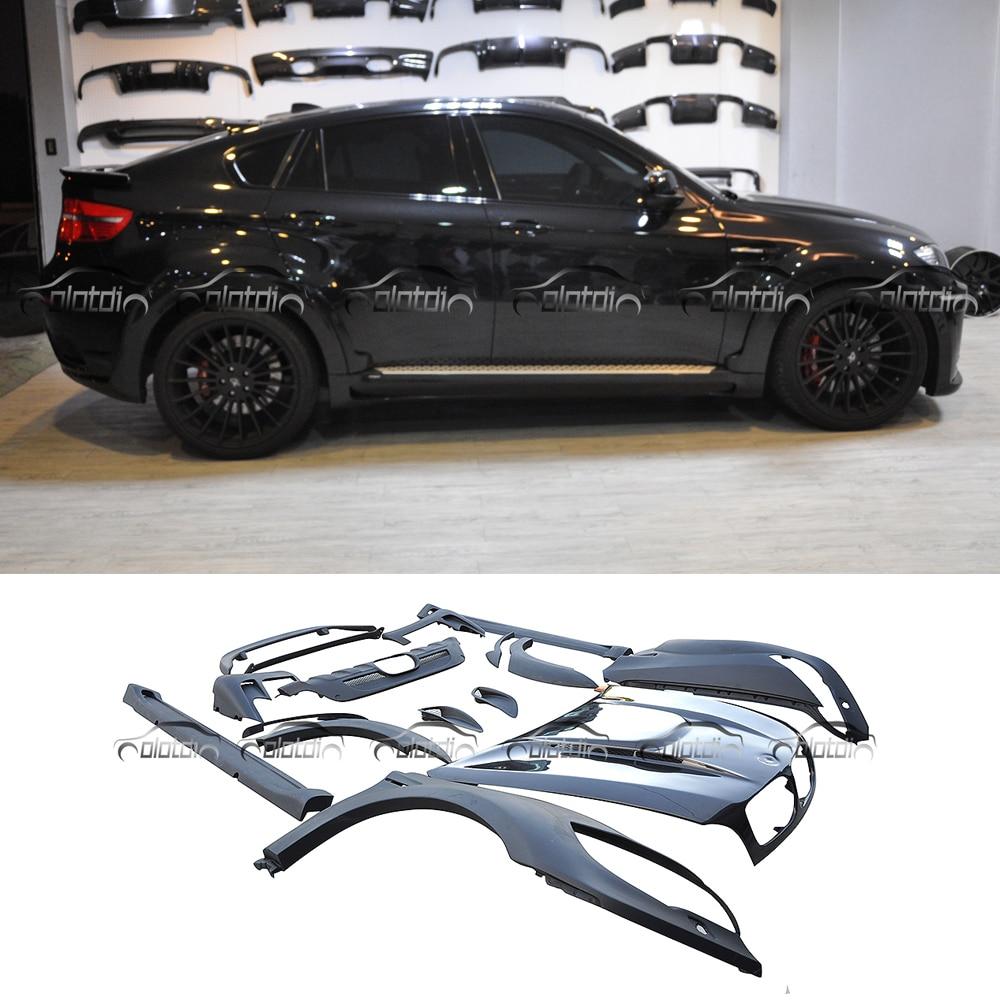 Pour H Style E71 Kits de carrosserie Style de voiture FRP matériau en fibre de verre puissant Look pare-chocs élargi capot pour BMW E71 X6