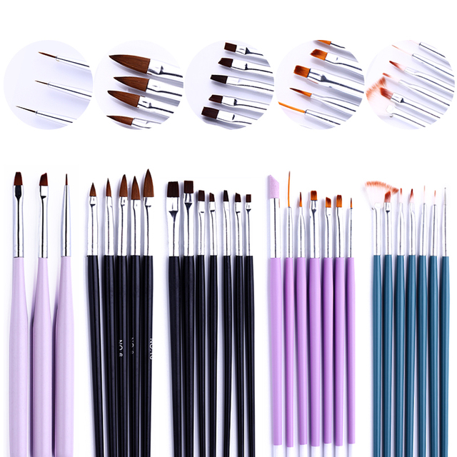 Nail Art Brush Rhinestone Acrylic Pen Carving Nails Tips Painting Poly Extension Gel Tool Liner French Manicure Accessories