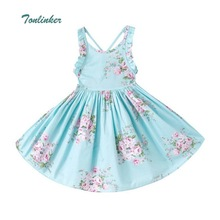 Tonlinker Baby Girls Dress 2018 Summer Beach Style Floral Print Party Backless Dresses For Girls Toddler Girl Clothing Vestidos high quality baby girls lace wedding dress child pastoral style floral dress 2 7y toddler girls backless summer clothing 2017