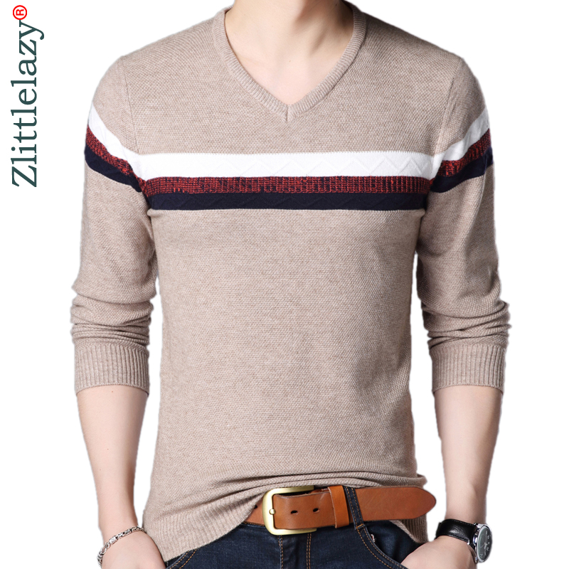2019 Designer Pullover Striped Men Sweater Mensthin Jersey Knitted Sweaters Mens Wear Slim Fit Knitwear Fashion Clothing 10046