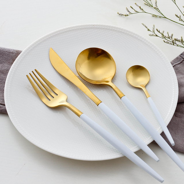 White Gold Dinnerware Set Golden Travel Cutlery Set Stainless Steel Dinner Knife Fork Scoops Set Wedding & White Gold Dinnerware Set Golden Travel Cutlery Set Stainless Steel ...