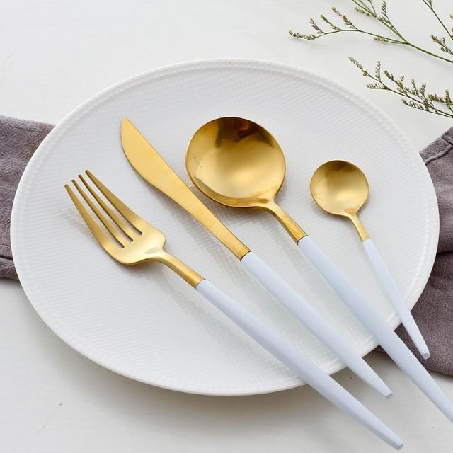 White Gold Dinnerware Set Golden Travel Cutlery Set Stainless Steel Dinner Knife Fork Scoops Set Wedding & White Gold Dinnerware Set Golden Travel Cutlery Set Stainless Steel ...