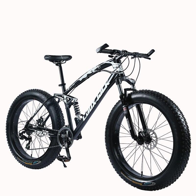 "HTB1K.iZlBnTBKNjSZPfq6zf1XXaK LAUXJACK Mountain Fat Bike 26"" Wheels SHIMANO 24 Speed Full Suspended Frame"