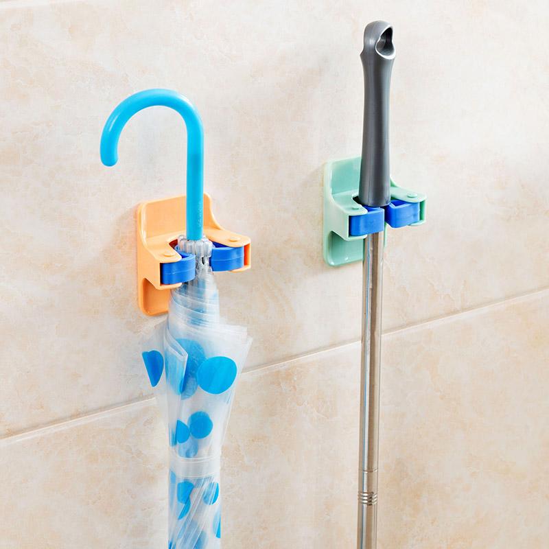 MOM'S HAND 2pcs/lot Home Clip Mop Hooks No Trace Mop Holder Bathroom Rack 10
