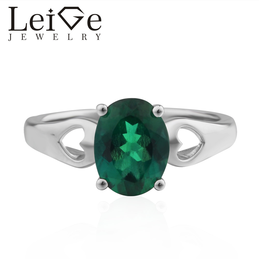 Leige Jewelry Anniversary Lab Emerald Ring Oval Cut Green Gemstone 925 Sterling Silver Engagement Ring цена