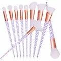 10 pçs/set Rosca Unicorn Rainbow Punho pincéis de Maquiagem Beleza Cosméticos Fundação Mistura de Blush Make up Brush tool Kit Set