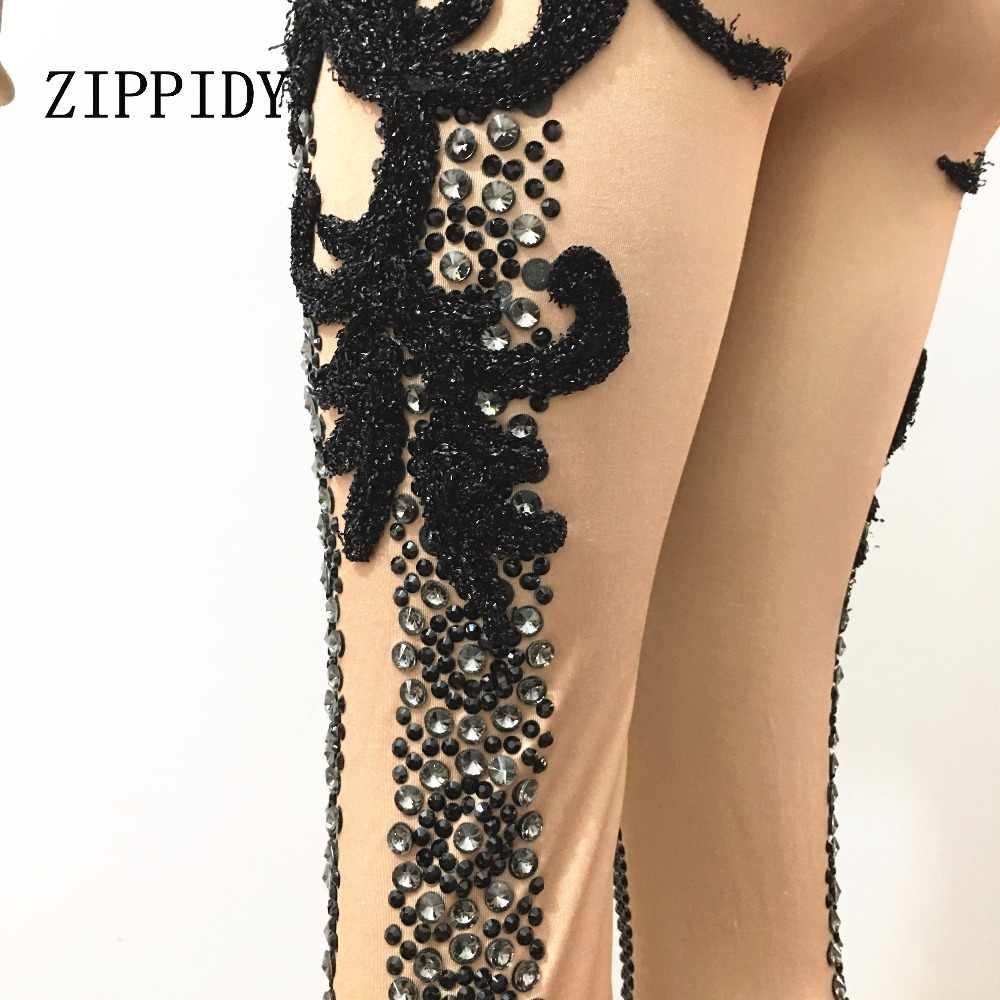 Glisten черные кристаллы комбинезон со стразами женский растягивающийся костюм наряд шикарный боди Ночной клуб блестящий костюм камни одежда