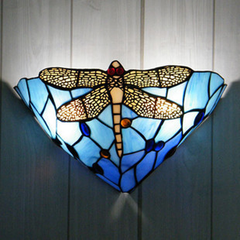 light Cafe light wall lamp wall lamps in the background wall light Dragonfly living room bedroom blue wall light ZA82410 dragonfly in amber