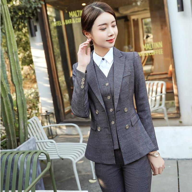 Uniform Designs Slim Fashion Professional Pantsuits Ladies Office For Business Women Blazers Pants Suits Trousers Sets