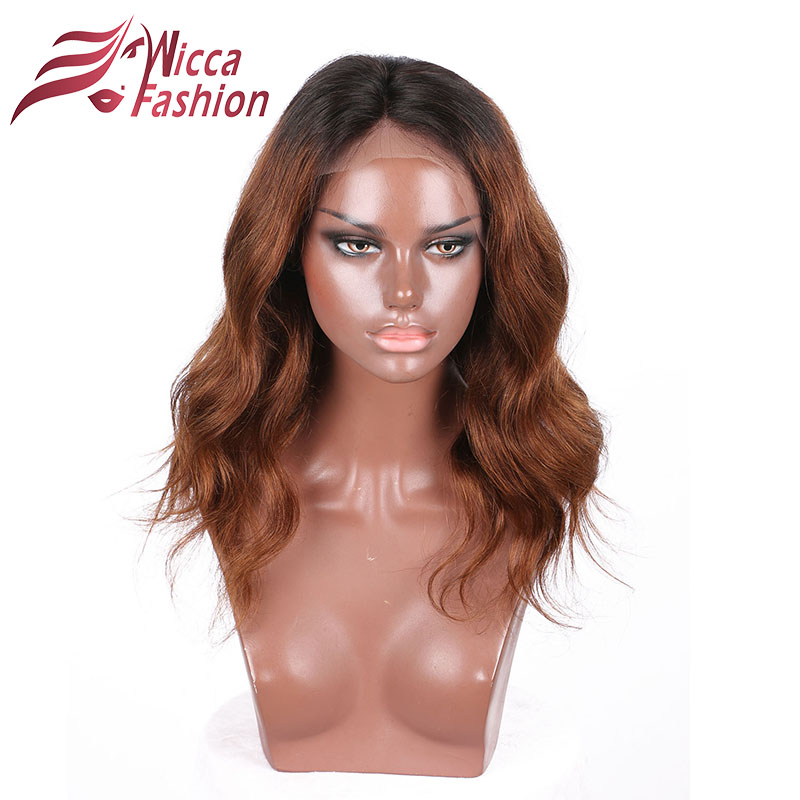 Wicca Fashion Lace Front Human Hair Wigs For Black Women Brazilian non-remy body wave 130% Density with natural hairline