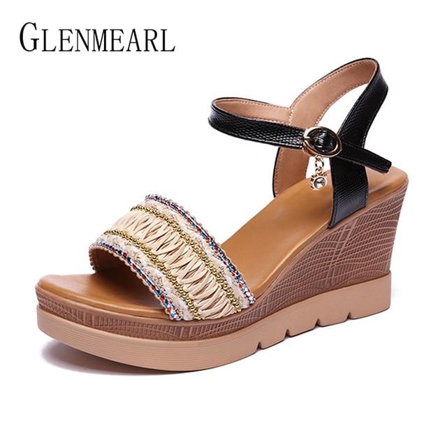 e368585d Sandalias DE verano DE la Plataforma DE las mujeres zapatos DE tacón alto  tobillo hebilla Peep