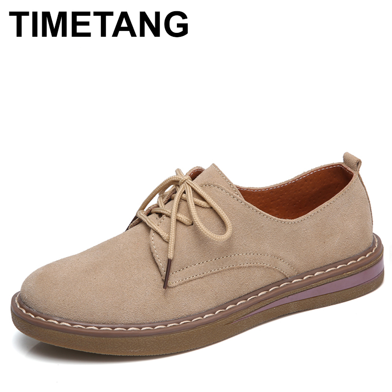 TIMETANG Designer   Suede   Women Lace Up Flats Classic Oxfords Ladies Round Toe Genuine   Leather   Casual Shoes Zapatos Mujer