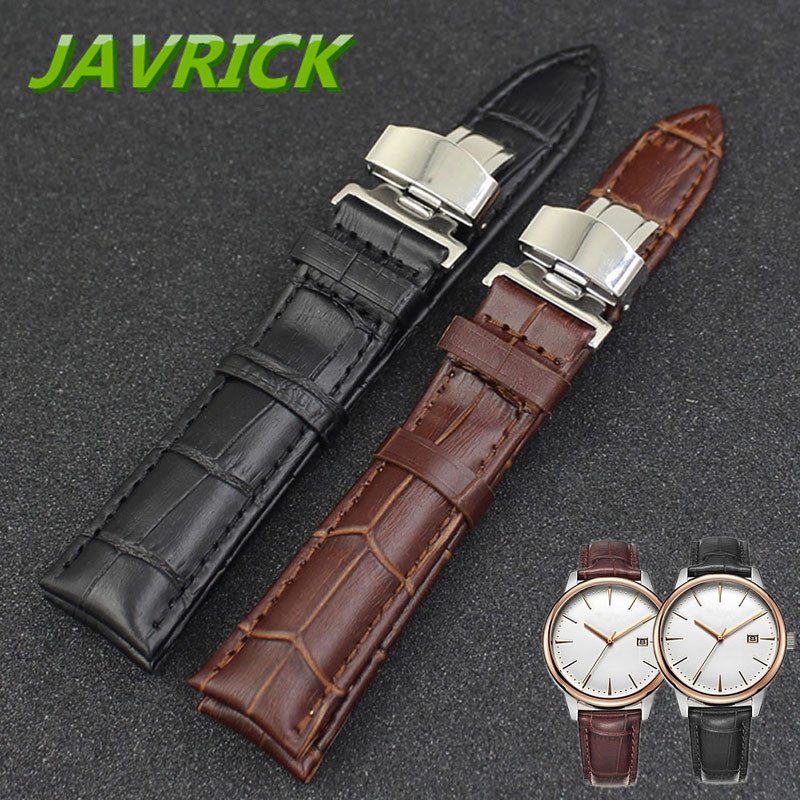 Luxury Leather Stainless Steel Butterfly Clasp Buckle Watch Band Strap 18-24mm 3 Colors luxury brands 20mm 21mm mens full stainless steel butterfly metel clasp waterproof strap for role driving sport watch with logo