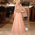 Muslim Peach Elegant Bridal Dresses With Pearls Beaded Arabic Wedding Gowns High Collar Full Sleeves Kaftan Button Formal Dress