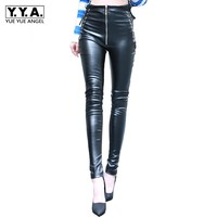 2019 New Women PU Leather Trousers Skinny Zipper High Waist Faux Leather Pants Ladies Streetwear Fleece Thick Slim Pencil Pants