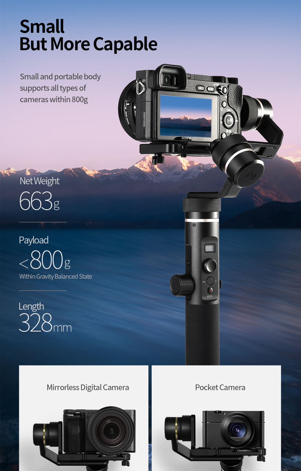 FeiyuTech G6 Plus 3-Axis Handheld Gimbal Stabilizer for Mirrorless Camera Pocket Camera GoPro Smartphone Payload 800g Feiyu G6P 2