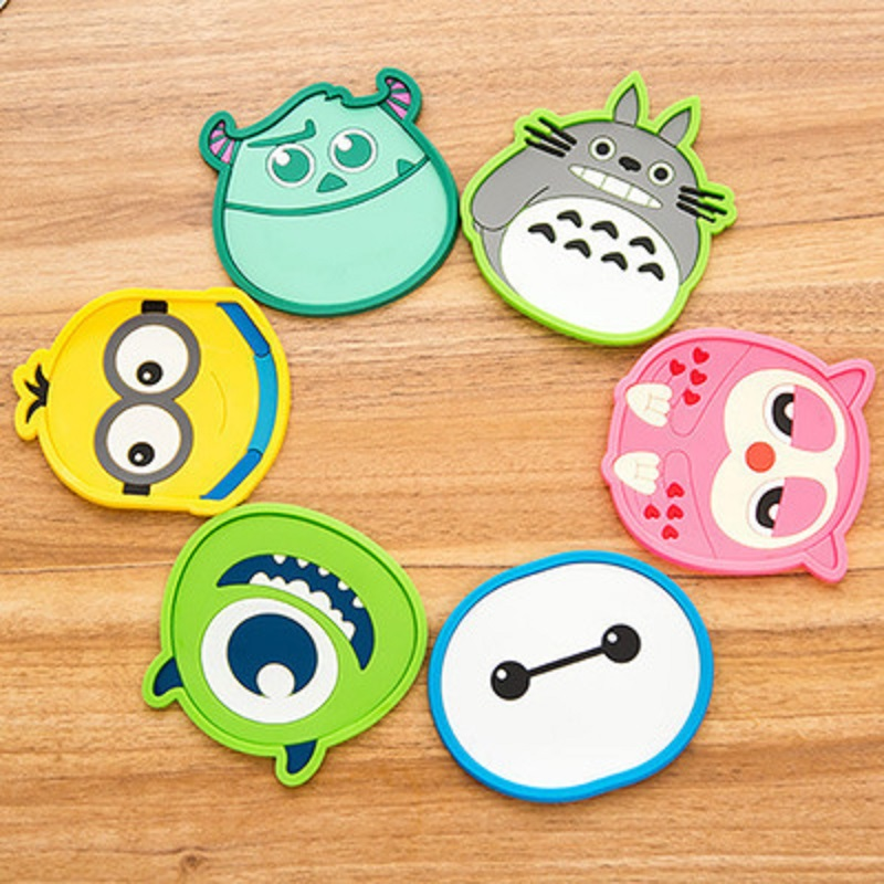 New Silicone Cartoon animal Totoro Hello Kitty Baymax Cup Coaster Nonslip Place Mat pads Cup Cushion Minions Tea Cup Hol