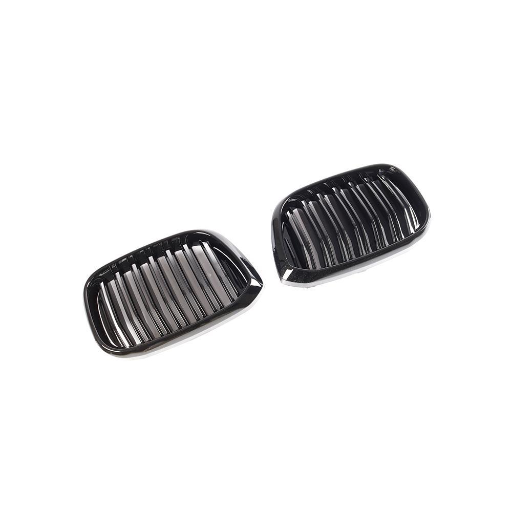 Grille de rein avant à double lamelles pour BMW X3 G01 X4 G02 Grille de course de pare-chocs X3 X4 xawai20i xDrive30i ABS noir brillant 2018 + - 5