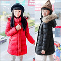 2016 New Winter Girls Jackets & Coats  Fashion Big Fur Collar  Long Thick Warm Down & Parka Coats  For 6-12year