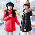 2016 New Winter Girls Jackets & Coats  Fashion Big Fur Collar  Long Thick Warm Down & Parka Coats  For 6-12year