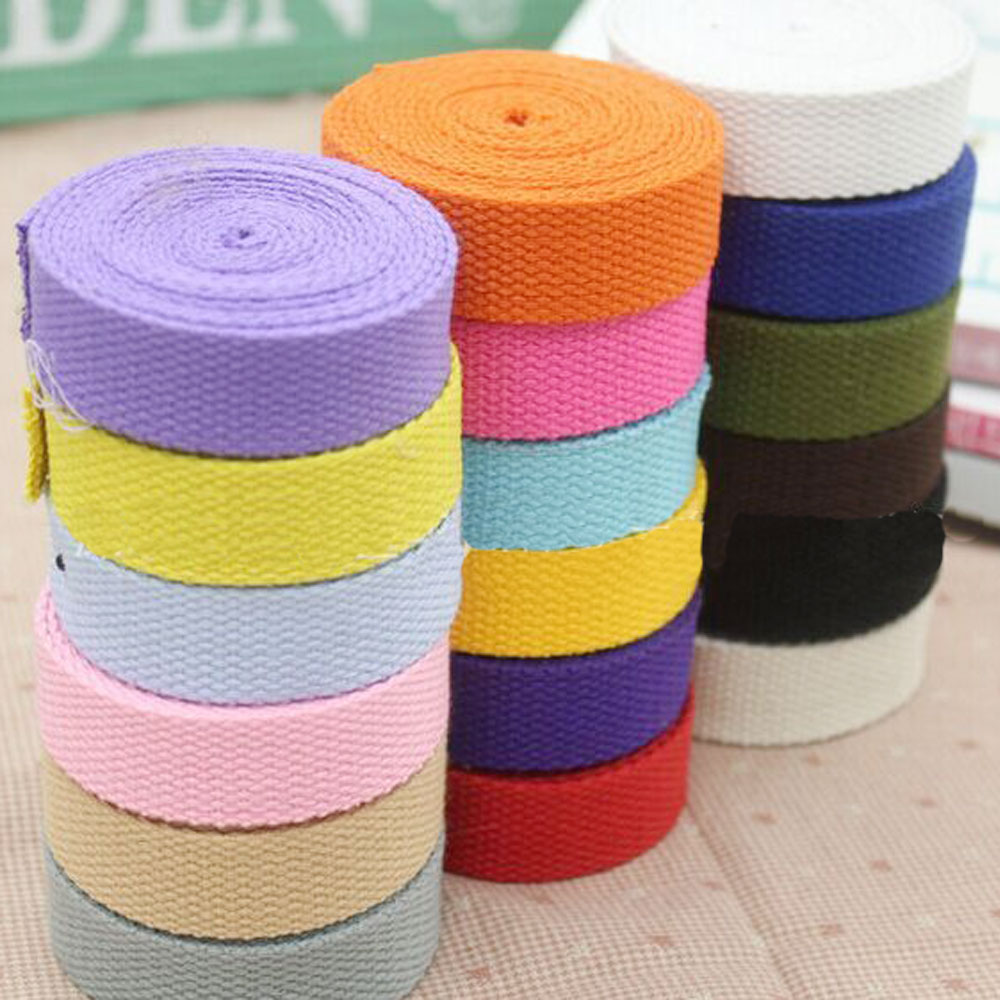 1'' 25mm 10 Yards Thick Canvas Ribbon Belt Bag Webbing