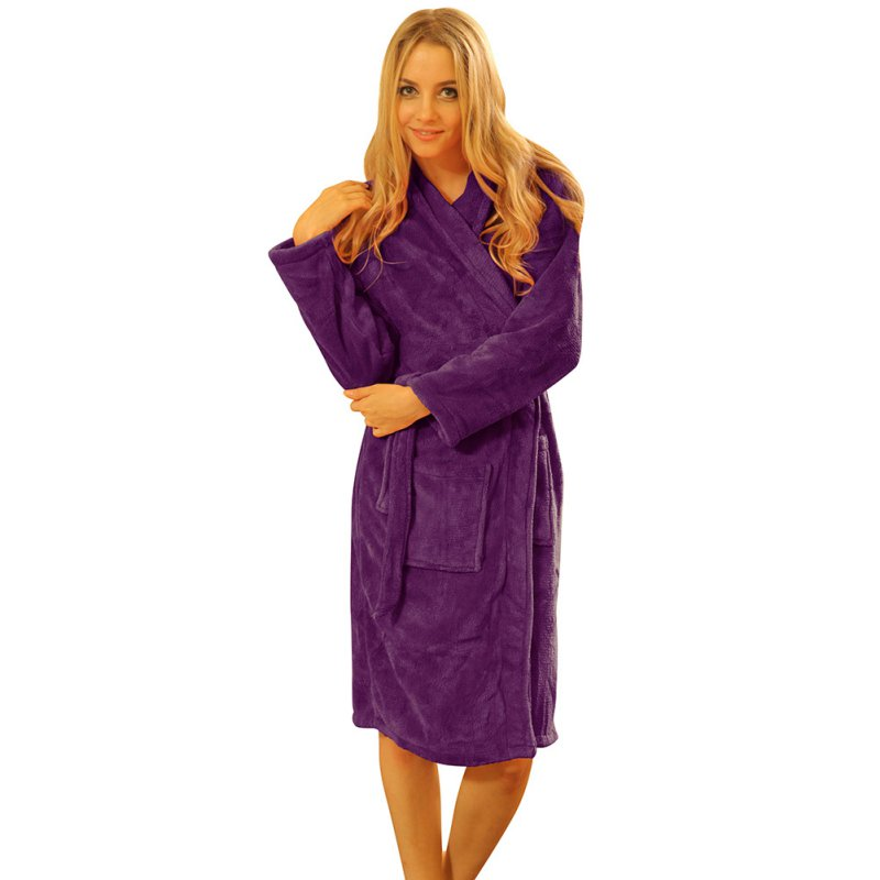women bathrobe winter robe loose long sleeves coral fleece. Black Bedroom Furniture Sets. Home Design Ideas