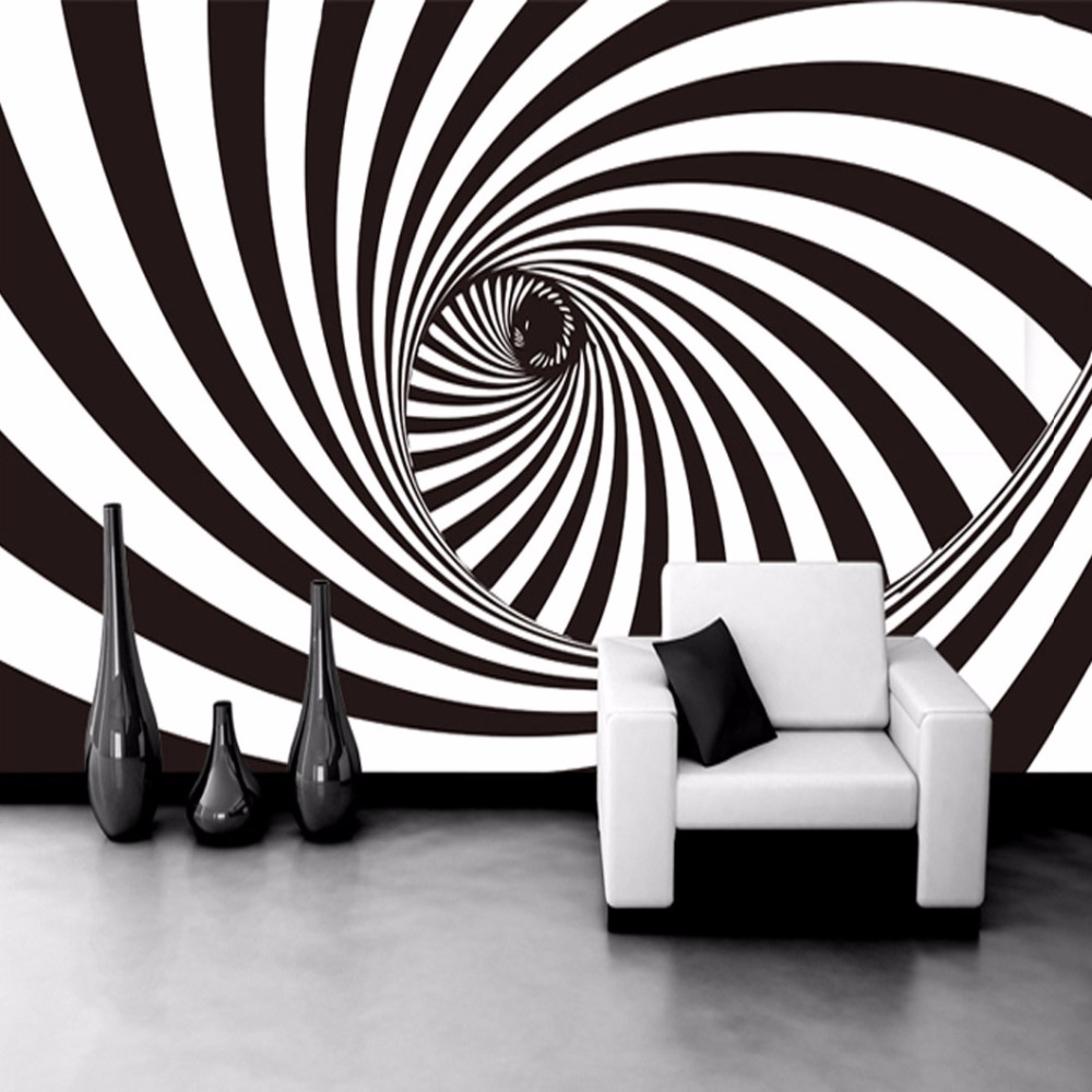 Aliexpress.com : Buy Custom Modern Abstract Artistic Wall Mural Wallpaper  Black And White Swirl Line Living Room Straw Non Woven Wall Paper For Walls  From ... Part 85