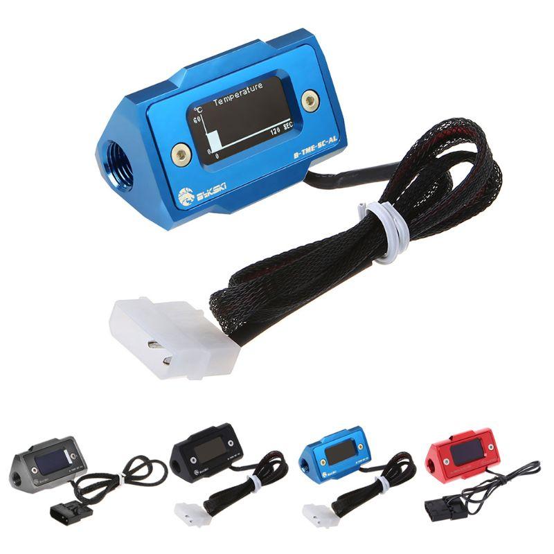 Bykski OLED Digital Display Water Temperature Meter Water Cooler System Double G1 4 Thermometer Temperature Sensor