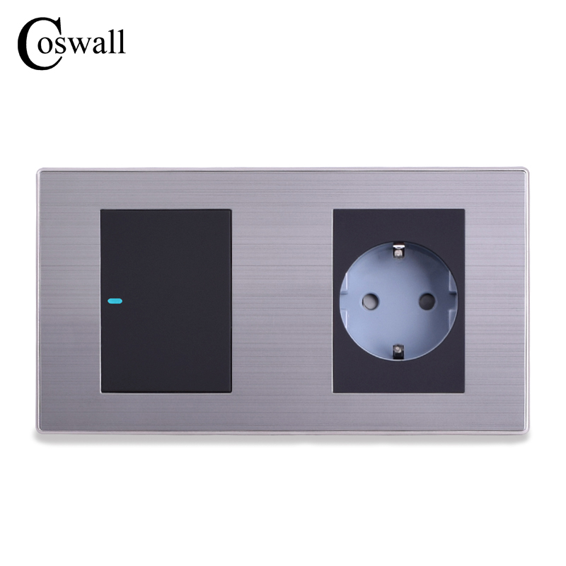 Coswall 16A EU Standard Wall Socket + 1 Gang 1 Way Push Button Light Switch With LED Indicator Stainless Steel Panel 160*86mm