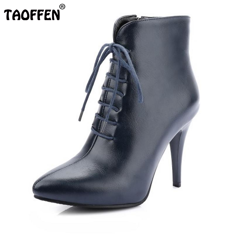 Mature Women Ankle Boots Cool Pointed Toe Thin High Heels Shoes Woman Spring Autumn Less Platform Botas Mujer Size 32-48 brand rivets patchwork ankle boots hidden wedges platform martin boots high heels pointed toe spring autumn boots zapatos mujer