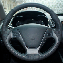 High quality Black Artificial Leather anti-slip customized car steering wheel cover For Kia K3 2013 K2 цена и фото