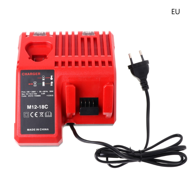 M12-18C Li-ion Battery Charger For Milwaukee 10.8V 12V 14.4V 18V M12 M18 US/EU Dls HOmeful replacement li ion battery charger power tools lithium ion battery charger for milwaukee m12 m18 electric screwdriver ac110 230v