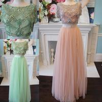 Из двух частей платье для выпускного вечера 2k19 Румяна мяты длинный тюлевый Выпускной платья короткий рукав vestidos de fiesta largos elegantes de gala бисер