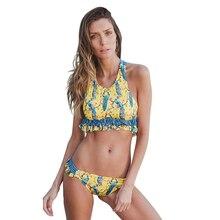 Купить с кэшбэком Women Swimsuit 2018 Sexy Print Push Up Bikini Set Fold Brazilian Tankini Bathing Suits Halter Plus Size Swimwear Female Bathers