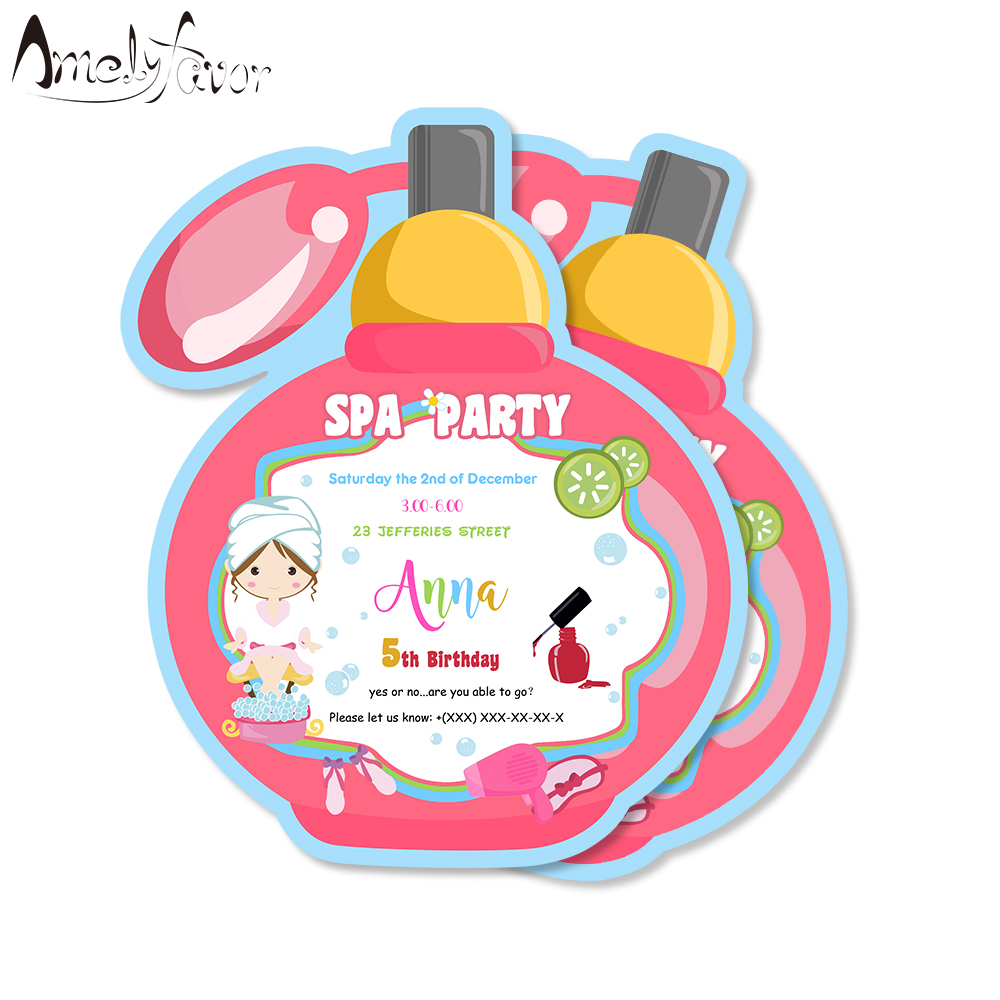 spa party invitations card spa birthday party supplies decorations kids event birthday invitations