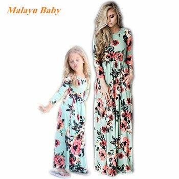 11b90e2e6 Malayu bebé Primavera Verano madre hija vestido ropa de playa chica flor  imprimir Bohemia estilo para