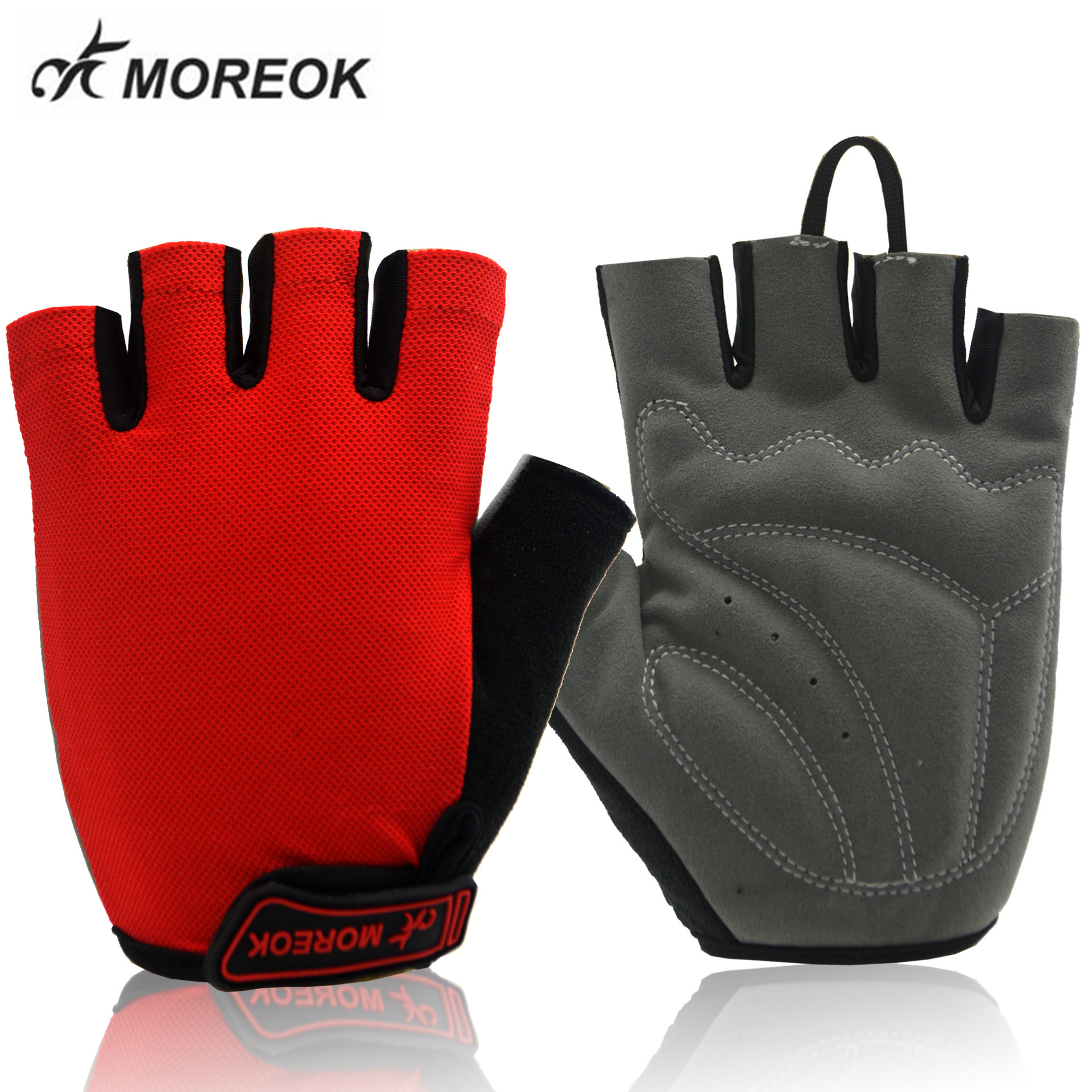 MOREOK Men Women Cycling Gloves Half Finger Bike Shockproof Breathable MTB Road Mountain Bicycle BMX GYM Sport