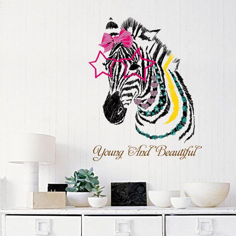 [Fundecor] tête de zèbre stickers muraux pour enfants chambres pépinière fille chambre enfants stickers vinyle décoration de la maison auto-adhésif fil