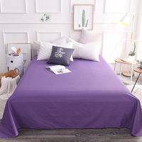 Stylish Purple Solid Color Fashion 100% Cotton Flat Sheets Queen/King Size Single Bed Sheet With Elastic Home Textile Bedding