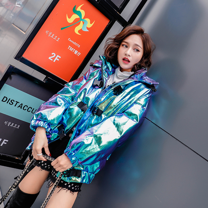 2019 Winter Women New Bright Surface Parkas Thick Warm Hooded Jacket Female Street Style Wadded Cotton