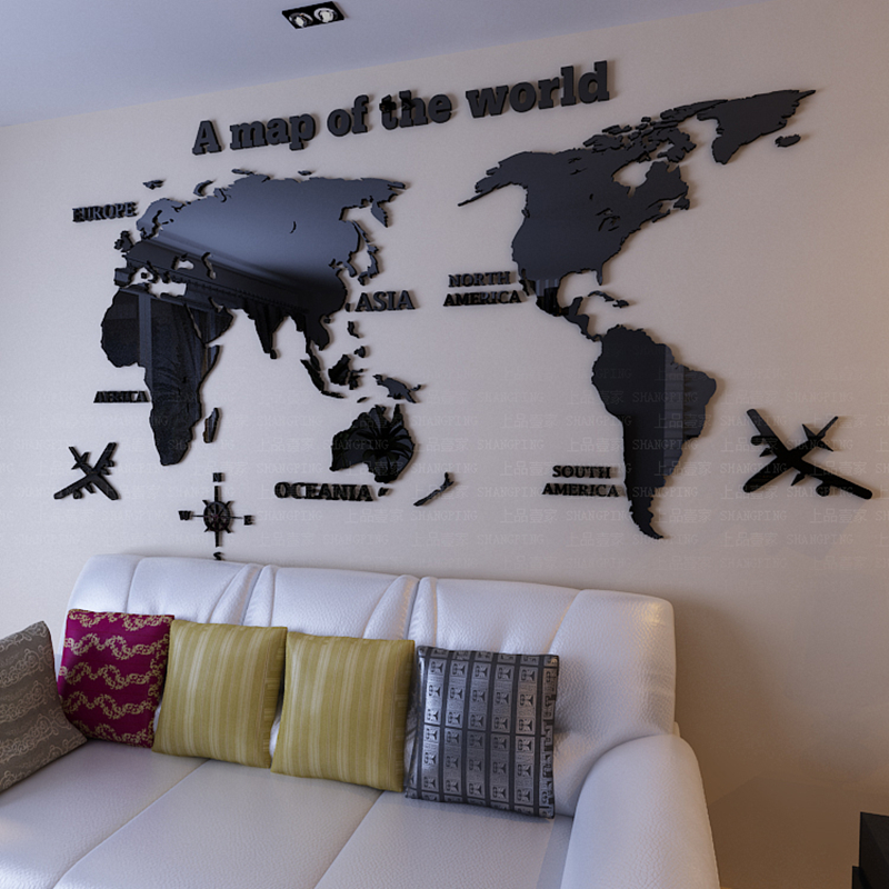 World Map 3D crystal acrylic wall stickers office living room sofa backdrop Home decor Art Wall Sticker Decals Christmas Gift