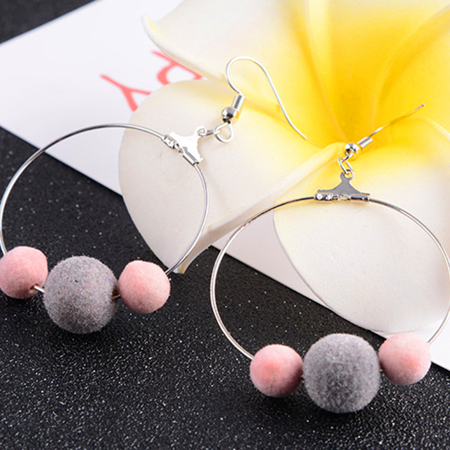 8fef69eb9 8SEASONS Women Hot New Fashion Drop Earrings Silver Color Gray Pink  Cashmere Pom Pom Ball Earrings Jewelry, 1 Pair