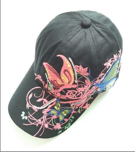 1 шт. 2017New модные с вышивкой в виде бабочек и летняя кепка-бейсболка Стиль женский рюкзак шляпу 7 цветов - Цвет: Черный
