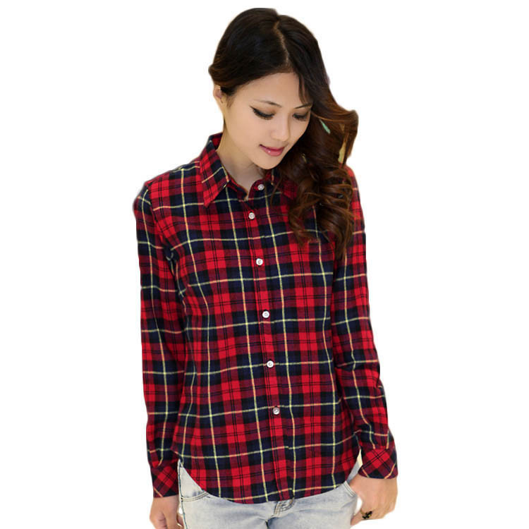 New Casual Button Down Lapel Neck Plaids Checks Flannel Blouse Shirts Women Long Sleeve Tops(China (Mainland))
